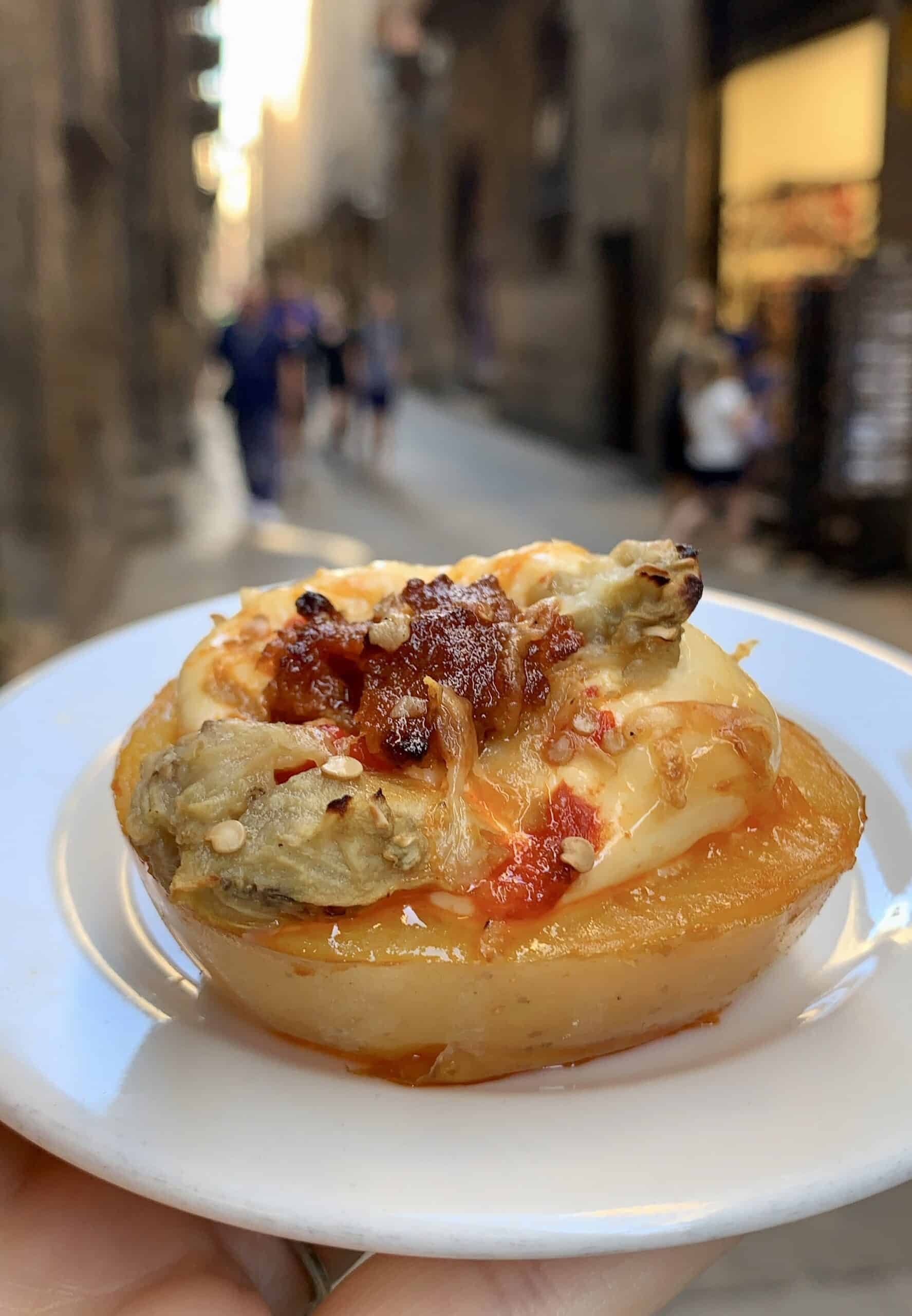 potato with chorizo and cheese in Barcelona
