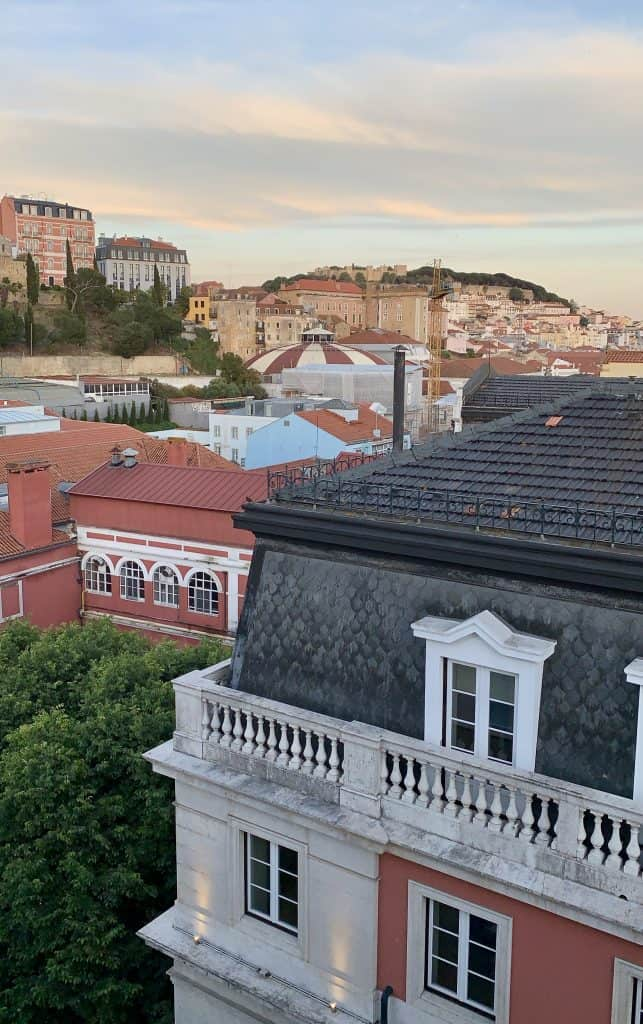 view of Lisbon castle from Heritage Avenida Liberdade Hotel