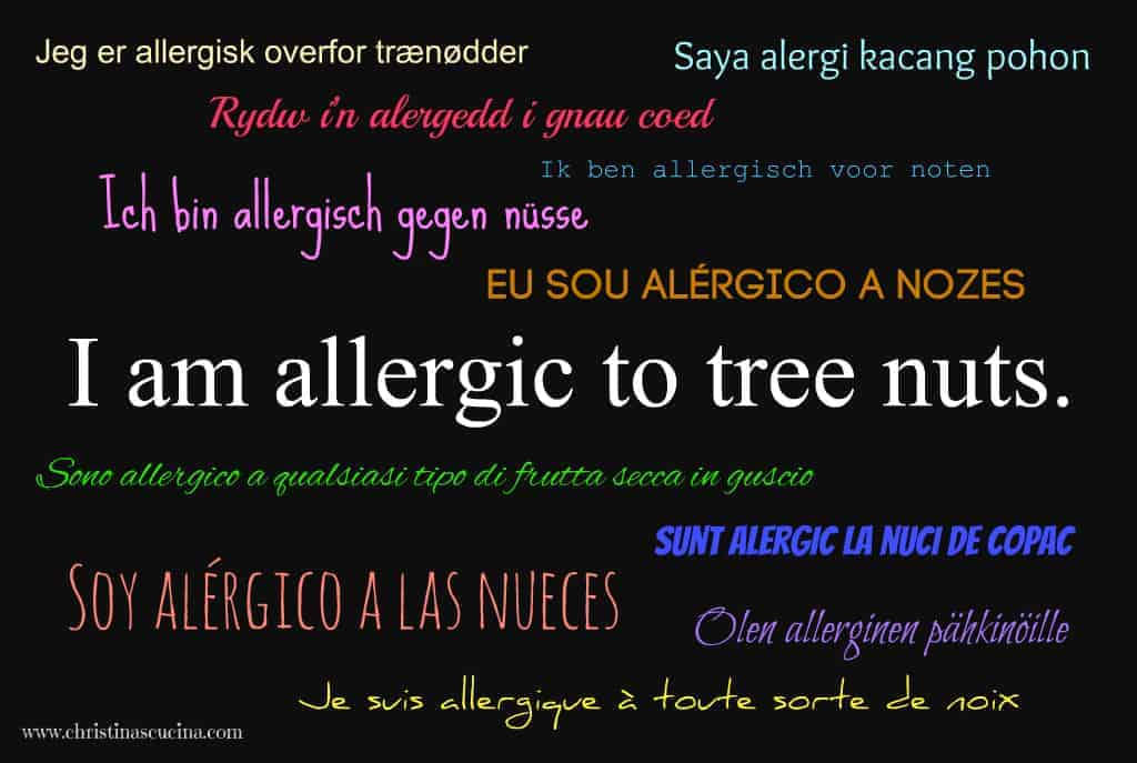 I am allergic to tree nuts 50 languages