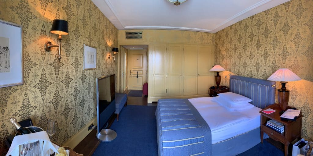 room at Les Trois Rois luxury hotel in Basel