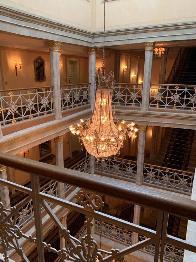 chandelier in Les Troix Rois luxury hotel in Basel