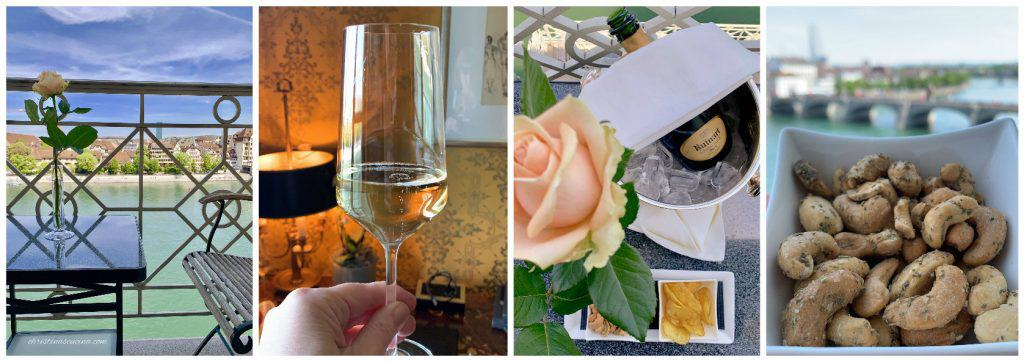 Champagne at Les Trois Rois luxury hotel in Basel
