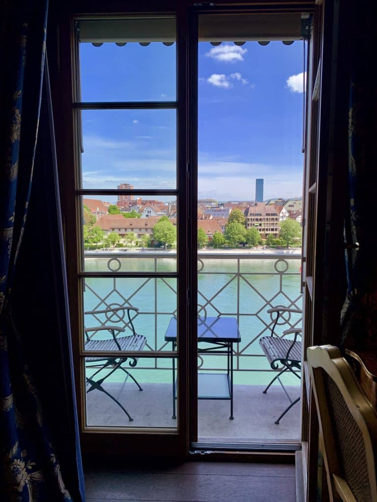 View from balcony room at Les Trois Rois luxury hotel in Basel