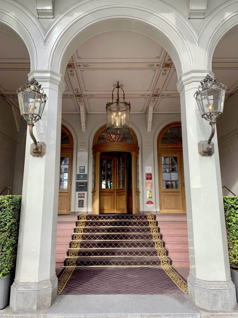 entrance to the Hotel Les Trois Rois luxury hotel in Basel