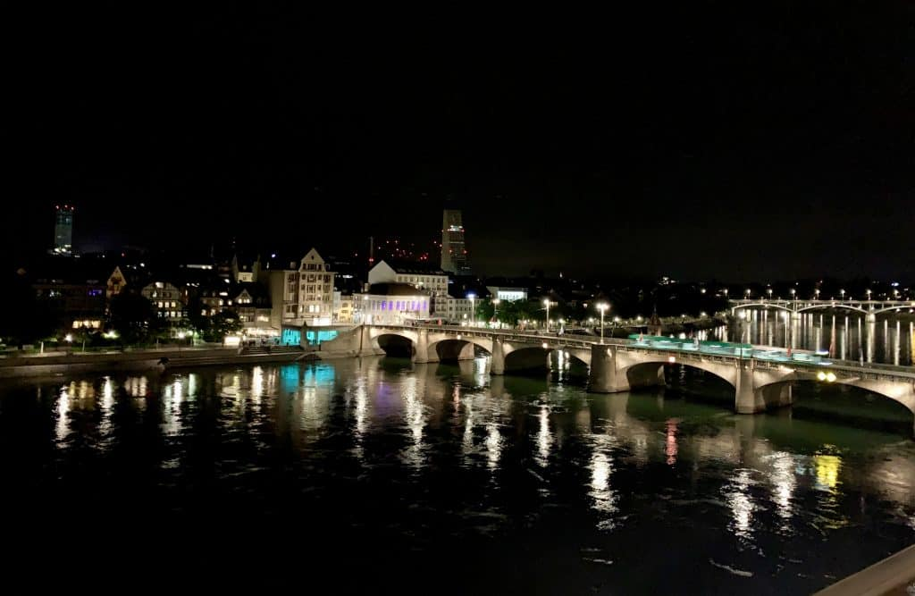 Middle Bridge in Basel at night