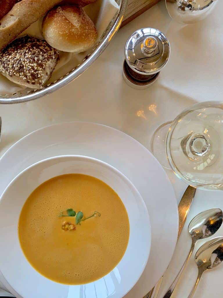 lobster bisque at Brasserie at Les Trois Rois luxury hotel in Basel