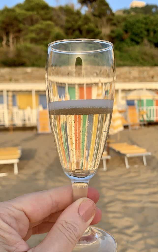 Prosecco on the beach