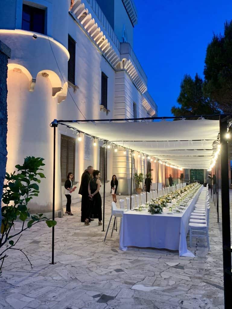 Table set for 90 guests at Punta Licosa