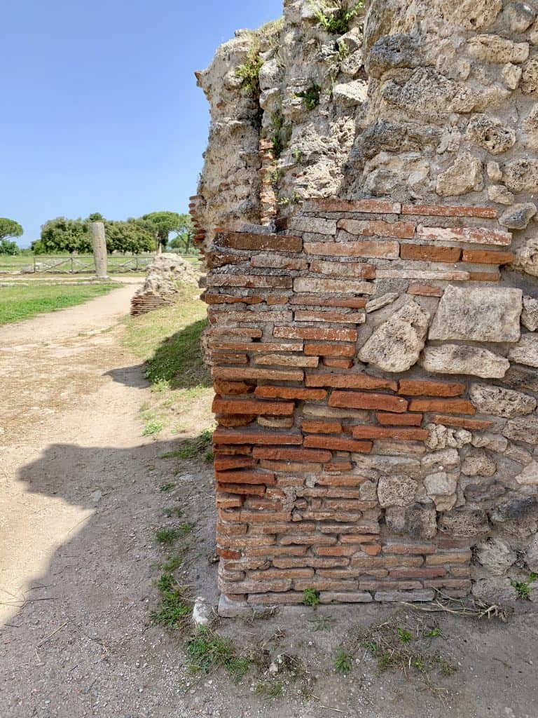 detail of a wall in paestum