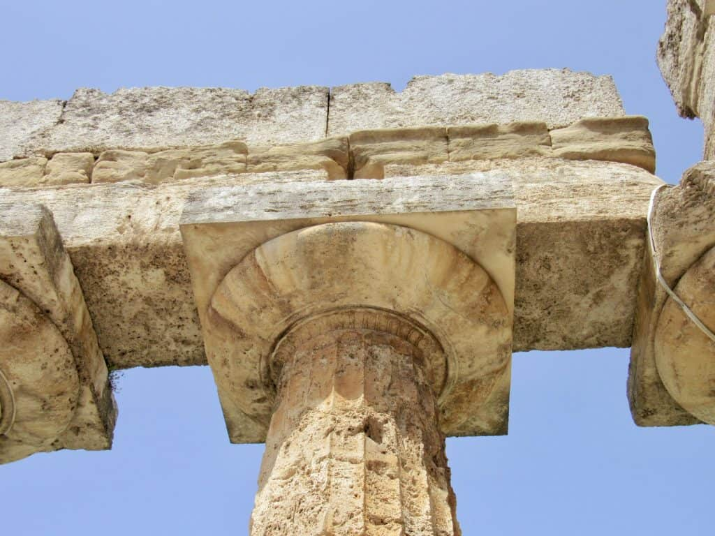 detail of a column in Paestum