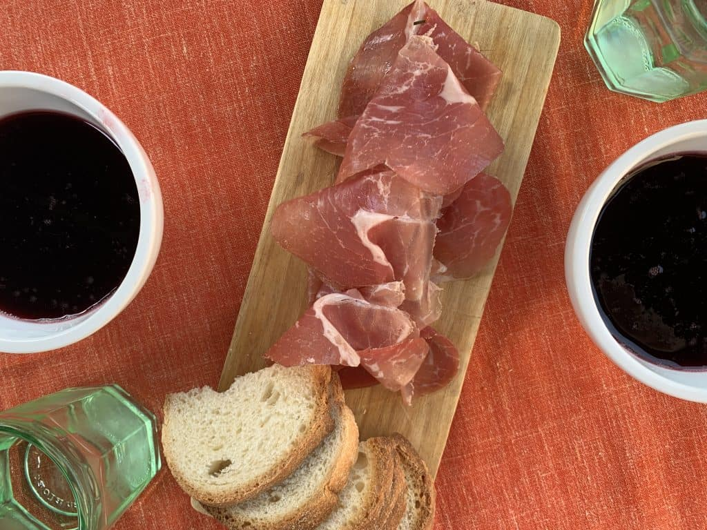 culatello and wine