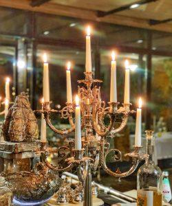 candelabra in Antica Corte Pallavicina restaurant