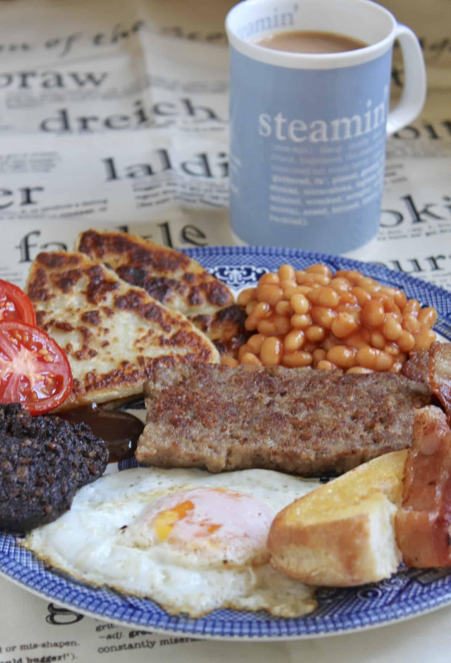 full Scottish breakfast with homemade Lorne Sausage