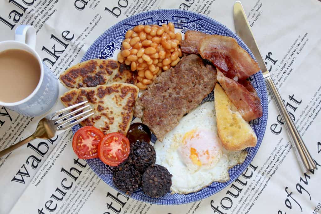 full Scottish breakfast with cup of tea