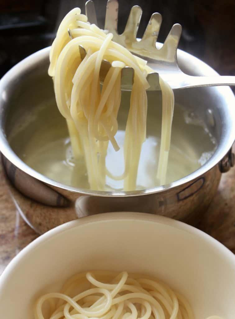 draining pasta