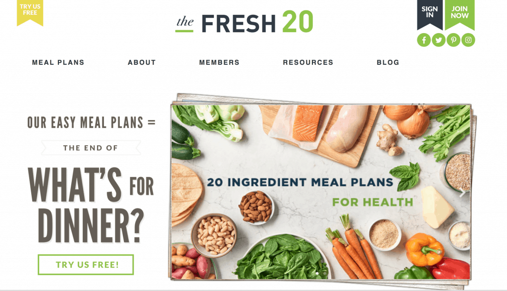 The Fresh 20 meal plan
