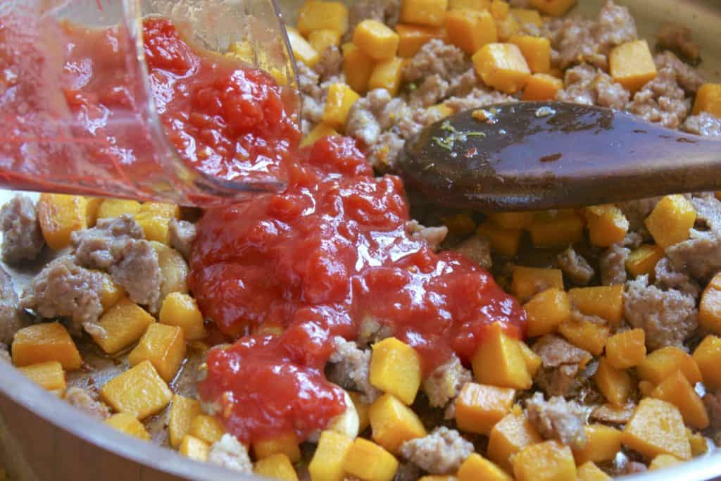 pumpkin and sausage and tomatoes