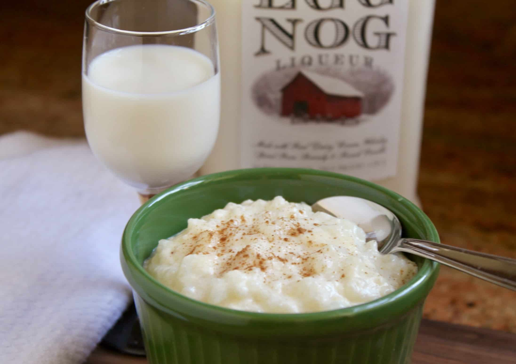 eggnog rice pudding with glass of liqueur