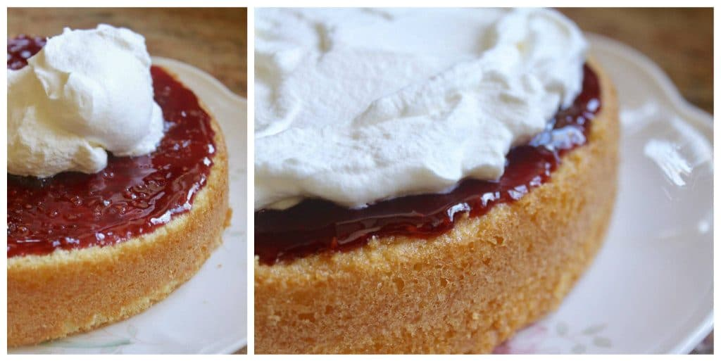 jam and cream on cake