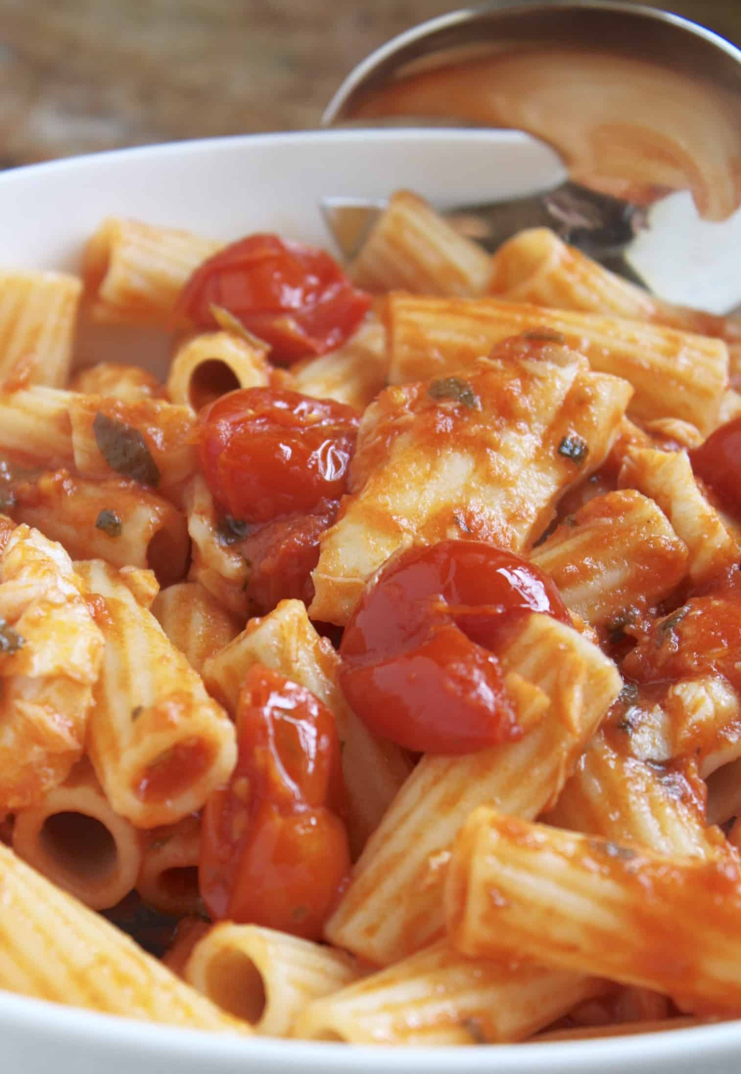 fish in tomato sauce with pasta