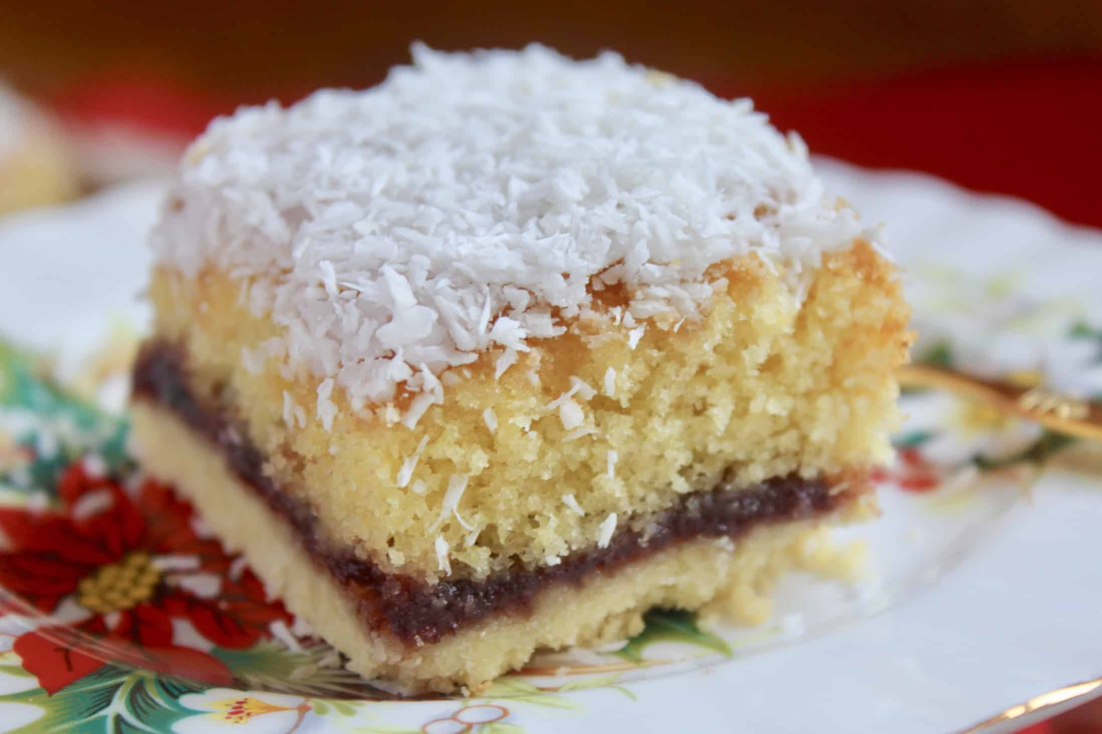 snow cake on a plate