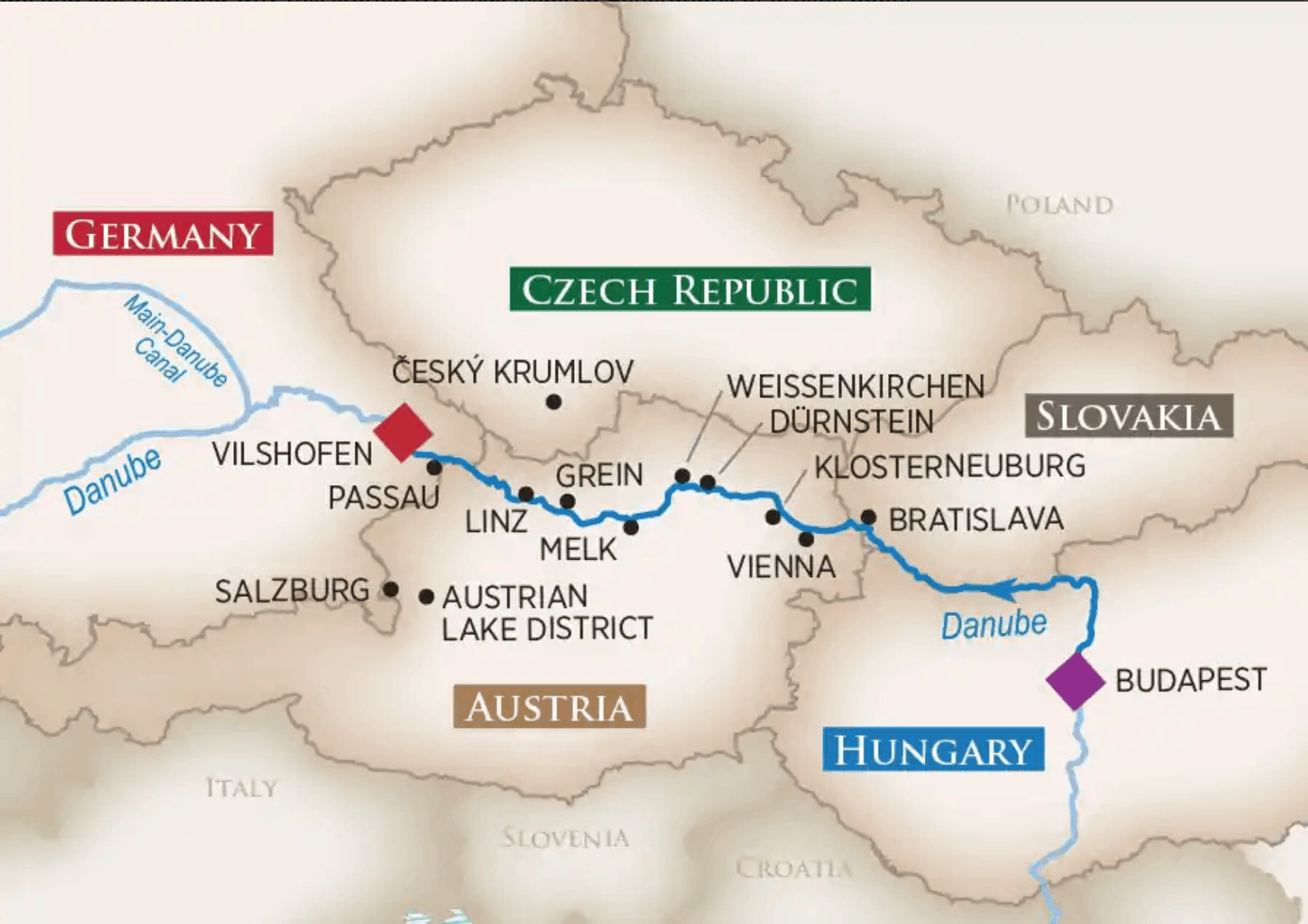 map of Melodies of the Danube cruise with AmaWaterways