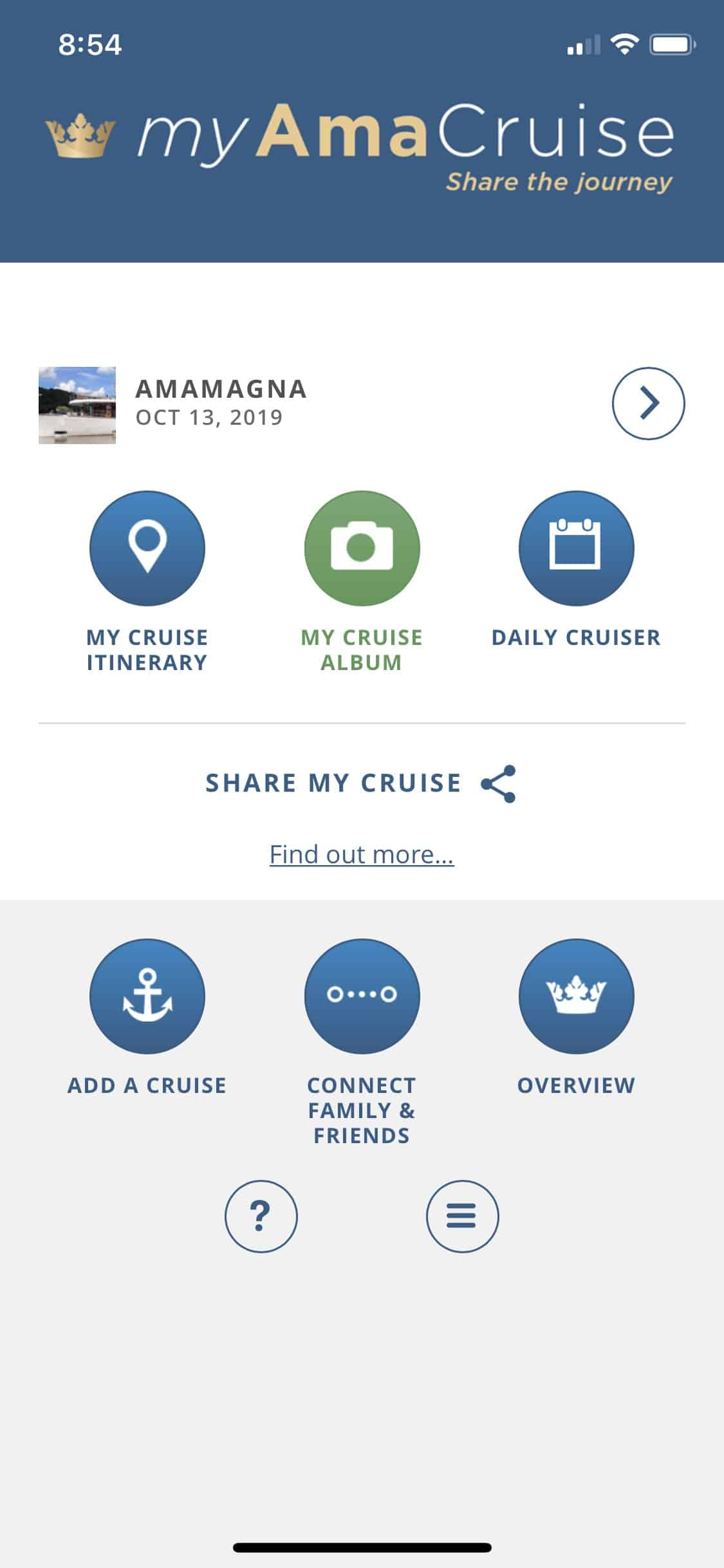 my amacruise app