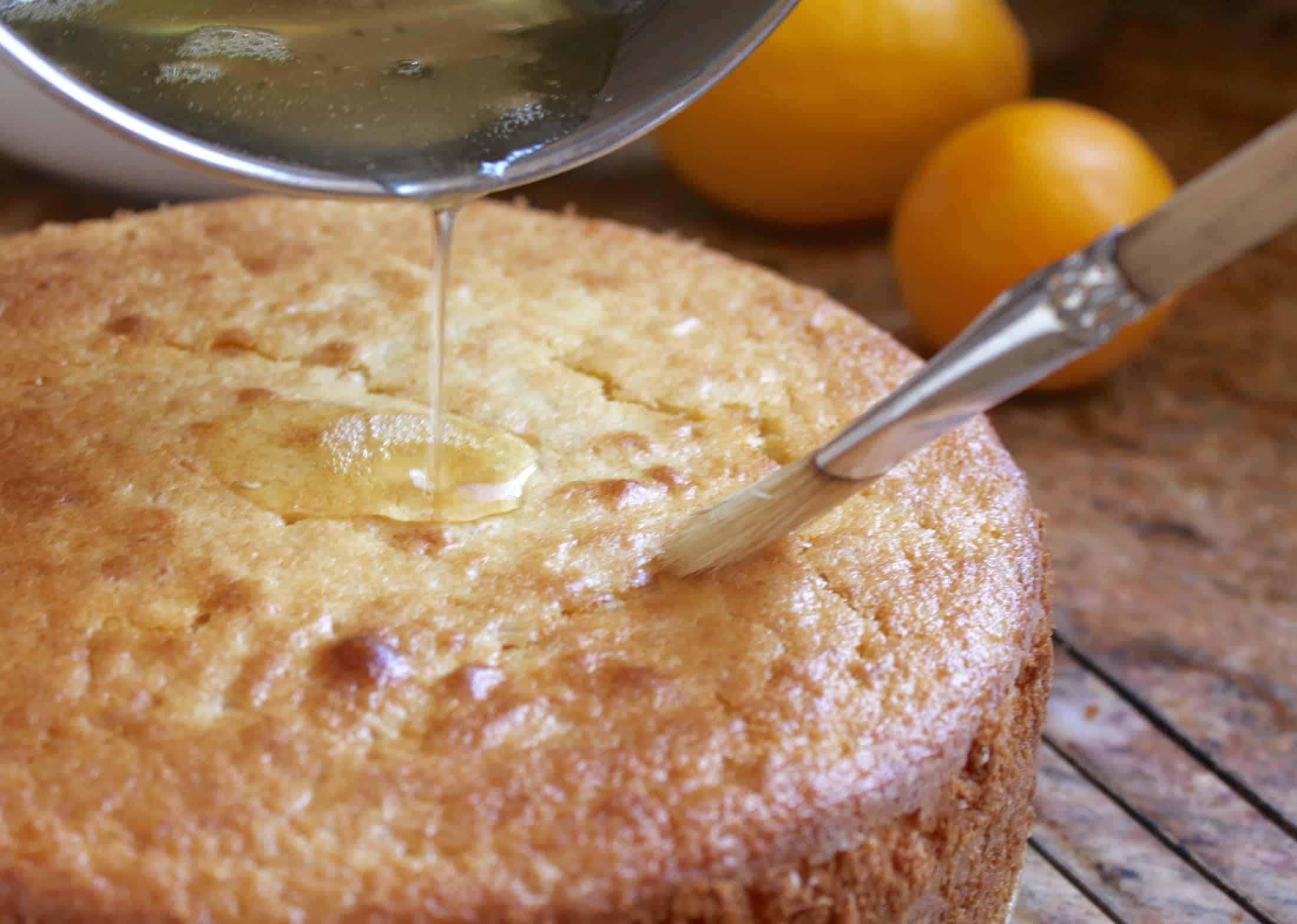 glazing the whole lemon cake