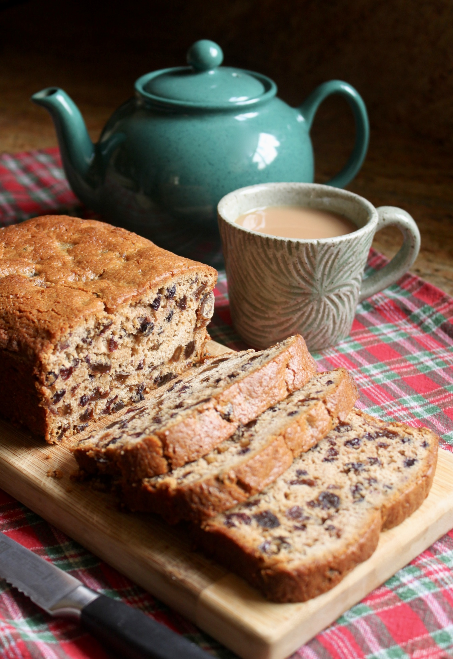 gluten free tea bread with mug of tea and teapot