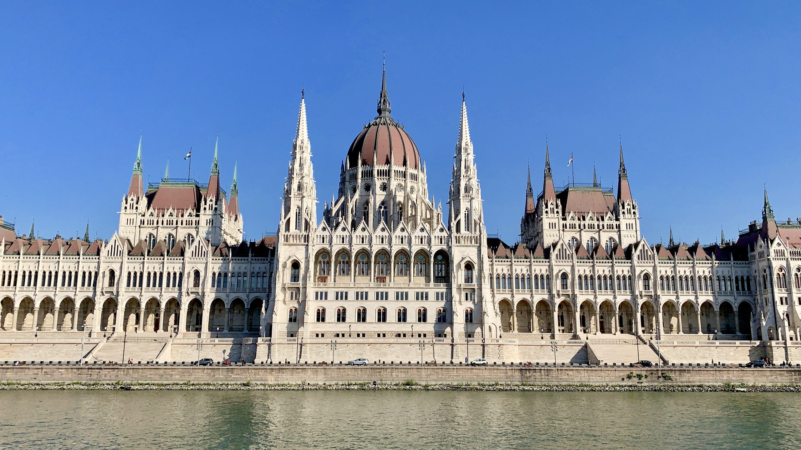 cruising the Danube River past the parliament building Budapest
