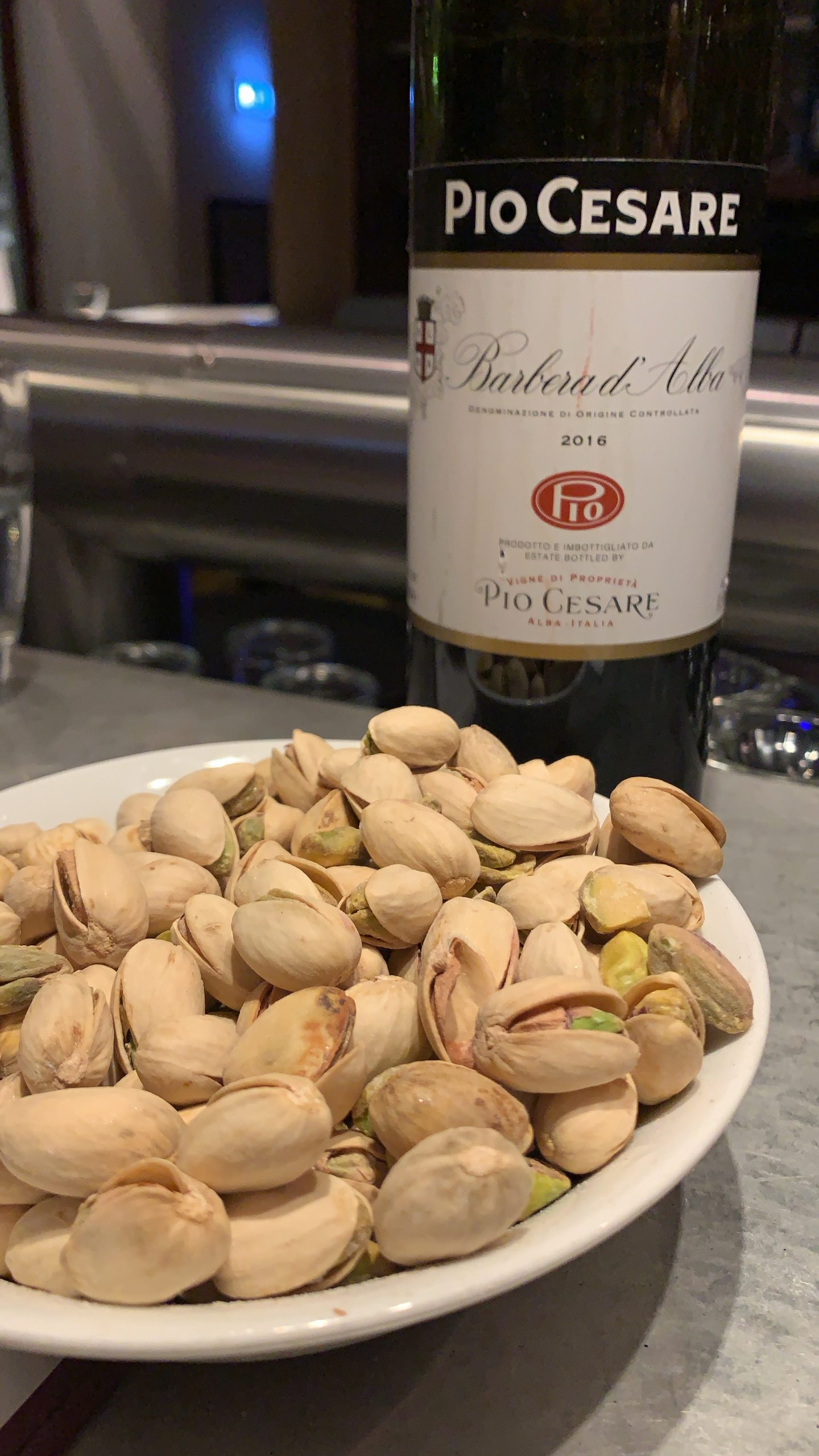 wine and pistachios