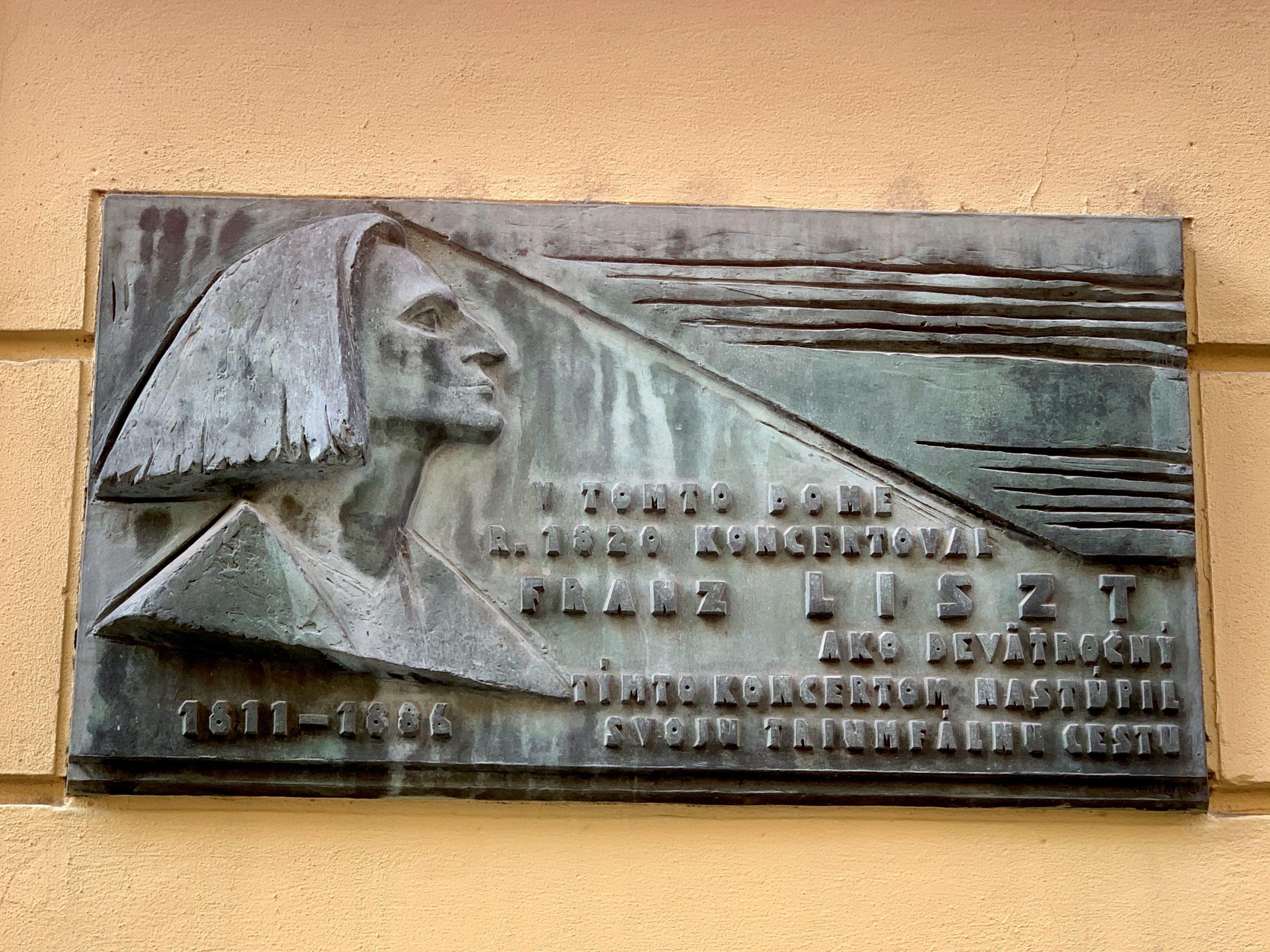 Franz Liszt plaque in Bratislava