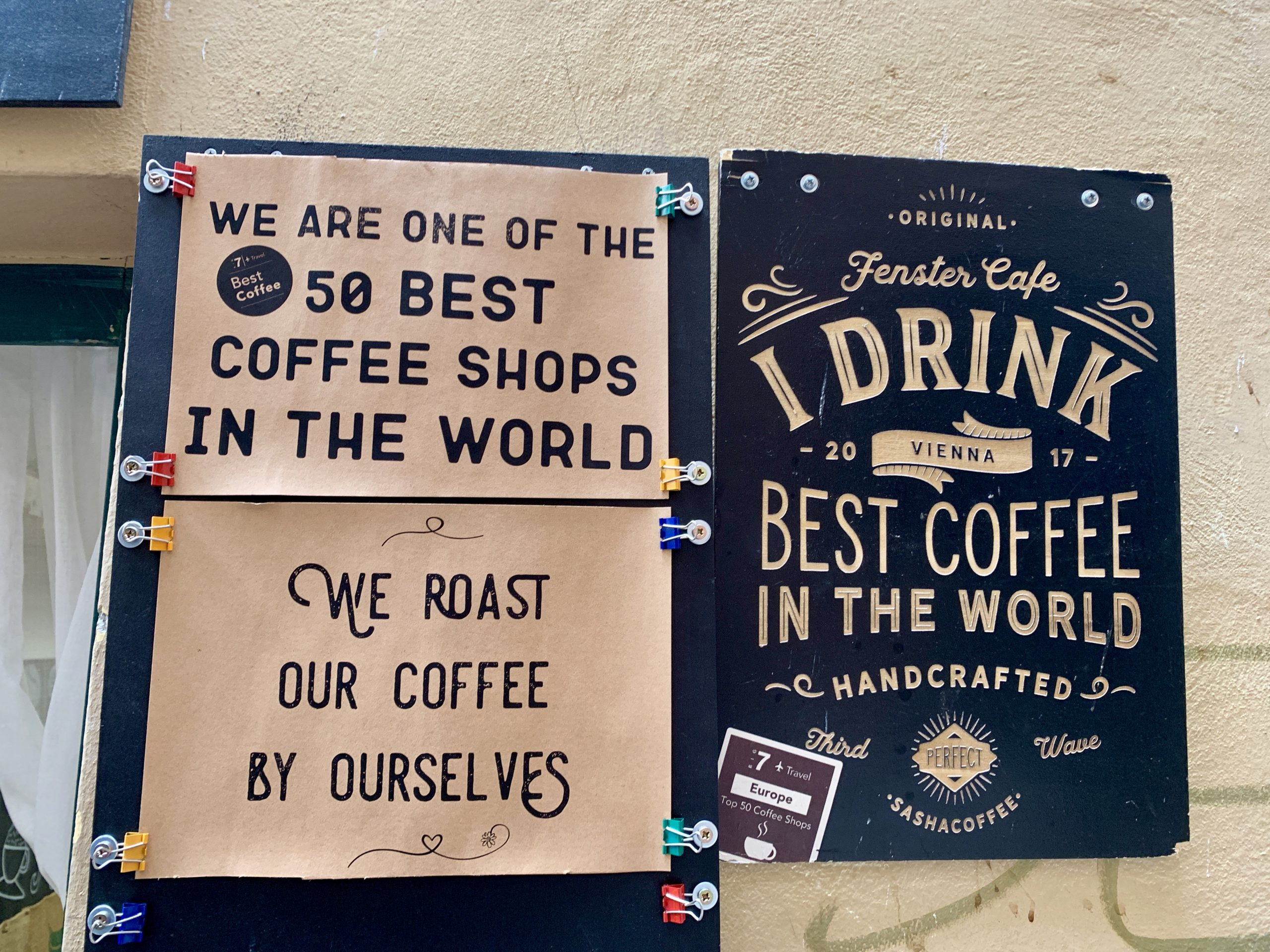 best coffee shops in the world sign