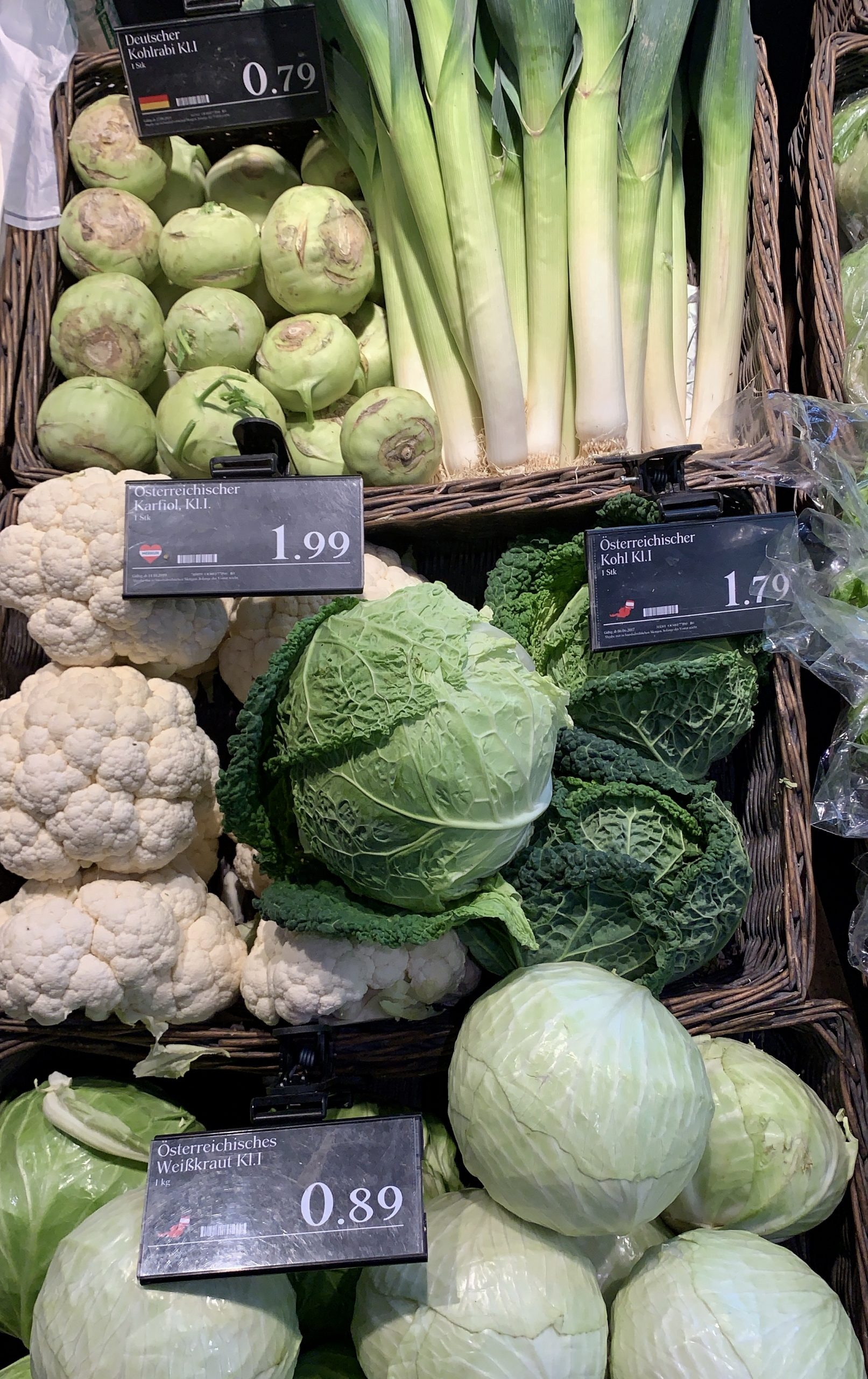 vegetables in a Viennese market