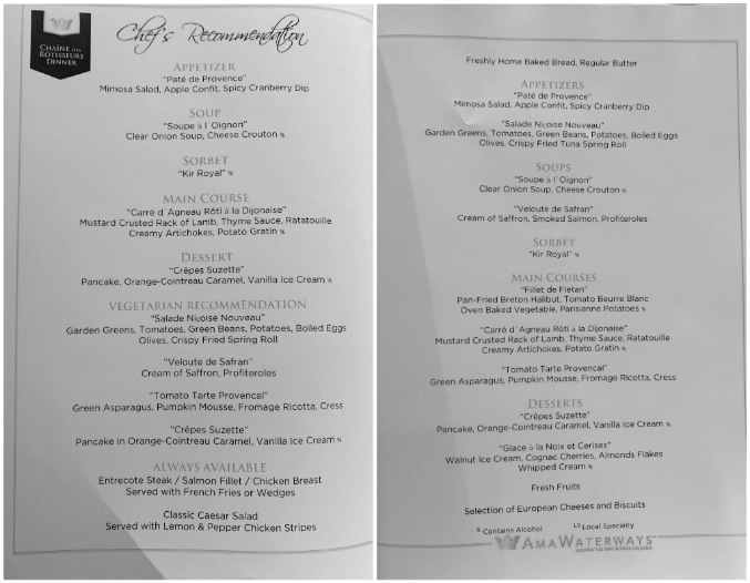 AmaWaterways menu