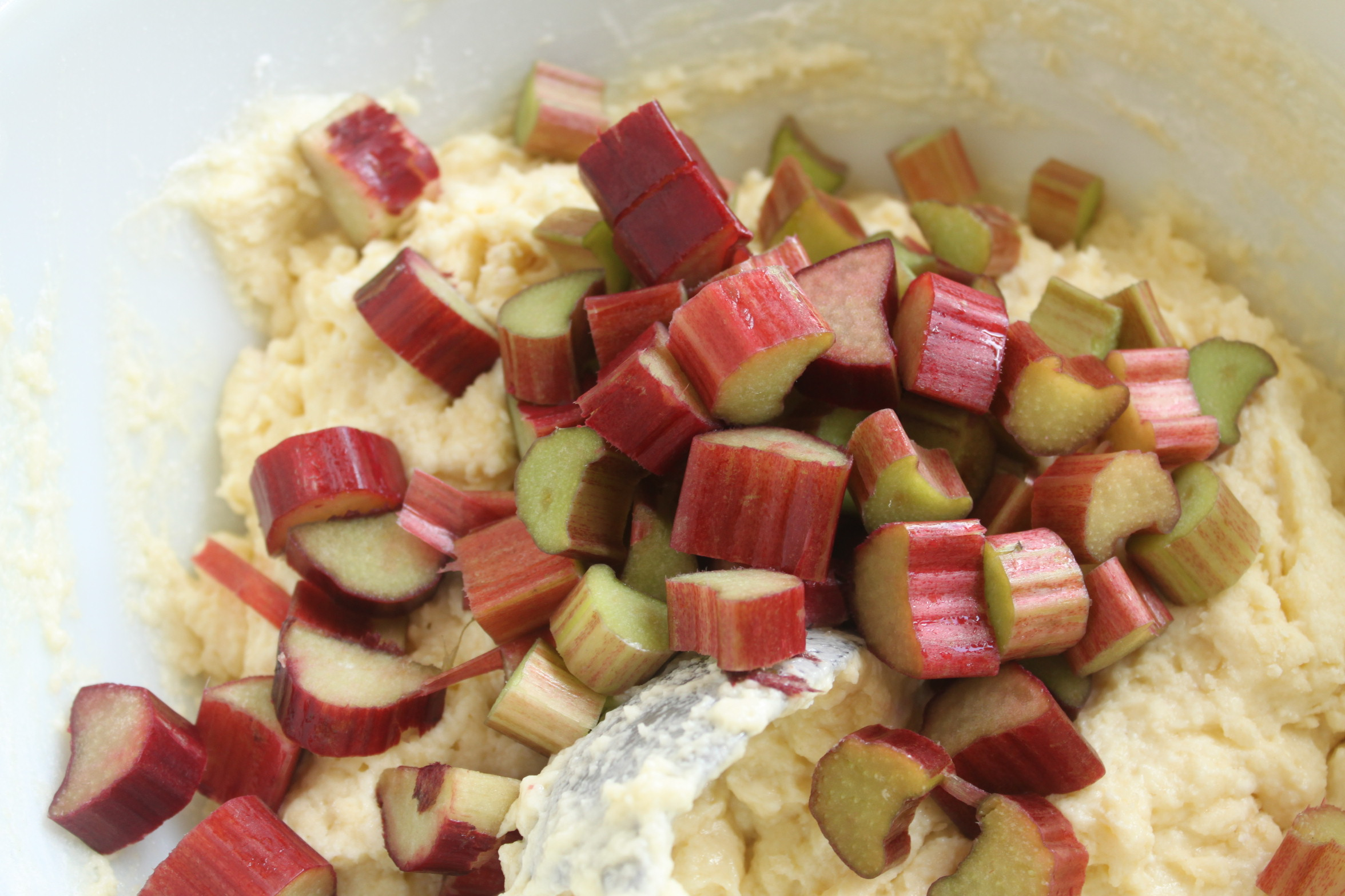 adding fruit to the batter