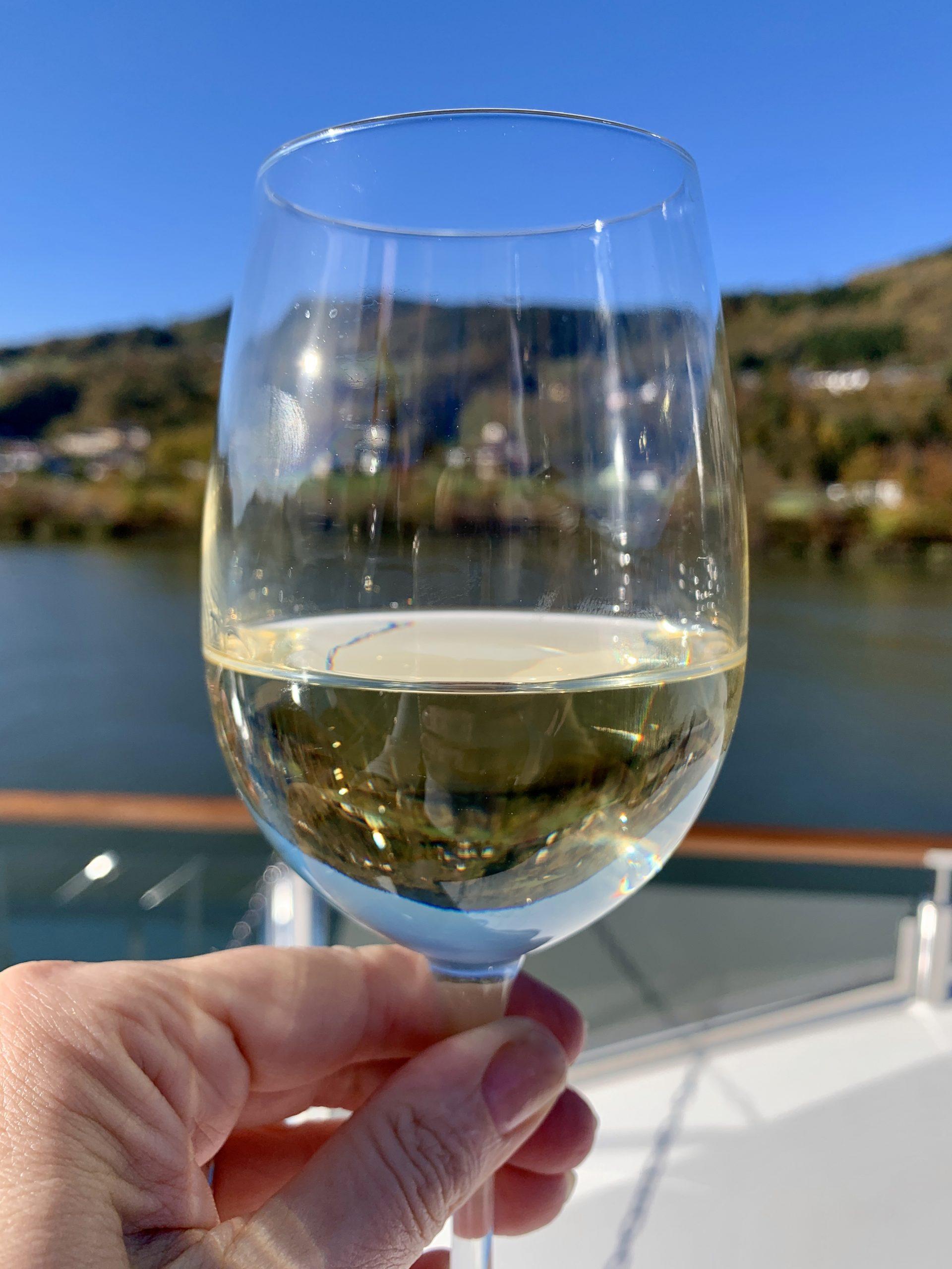wine on the AmaMagna sundeck