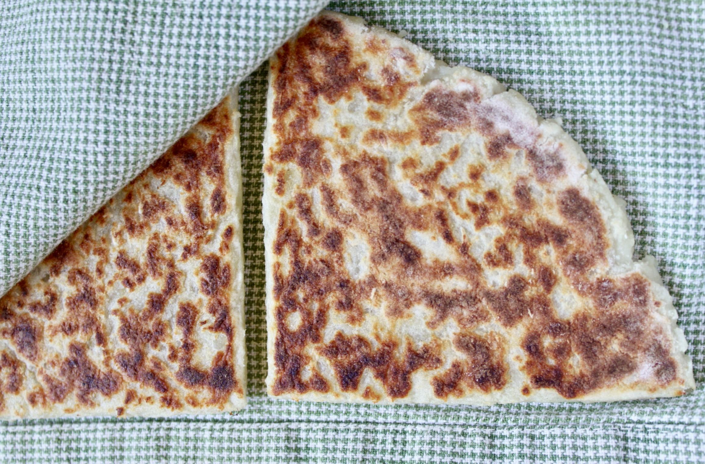 potato bread on tea towel