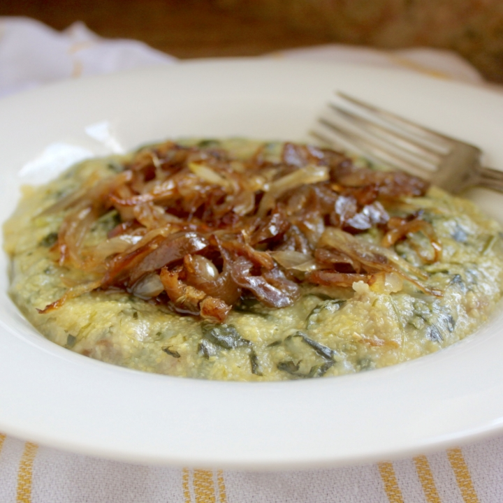 Polenta in a bowl with caramelized onions
