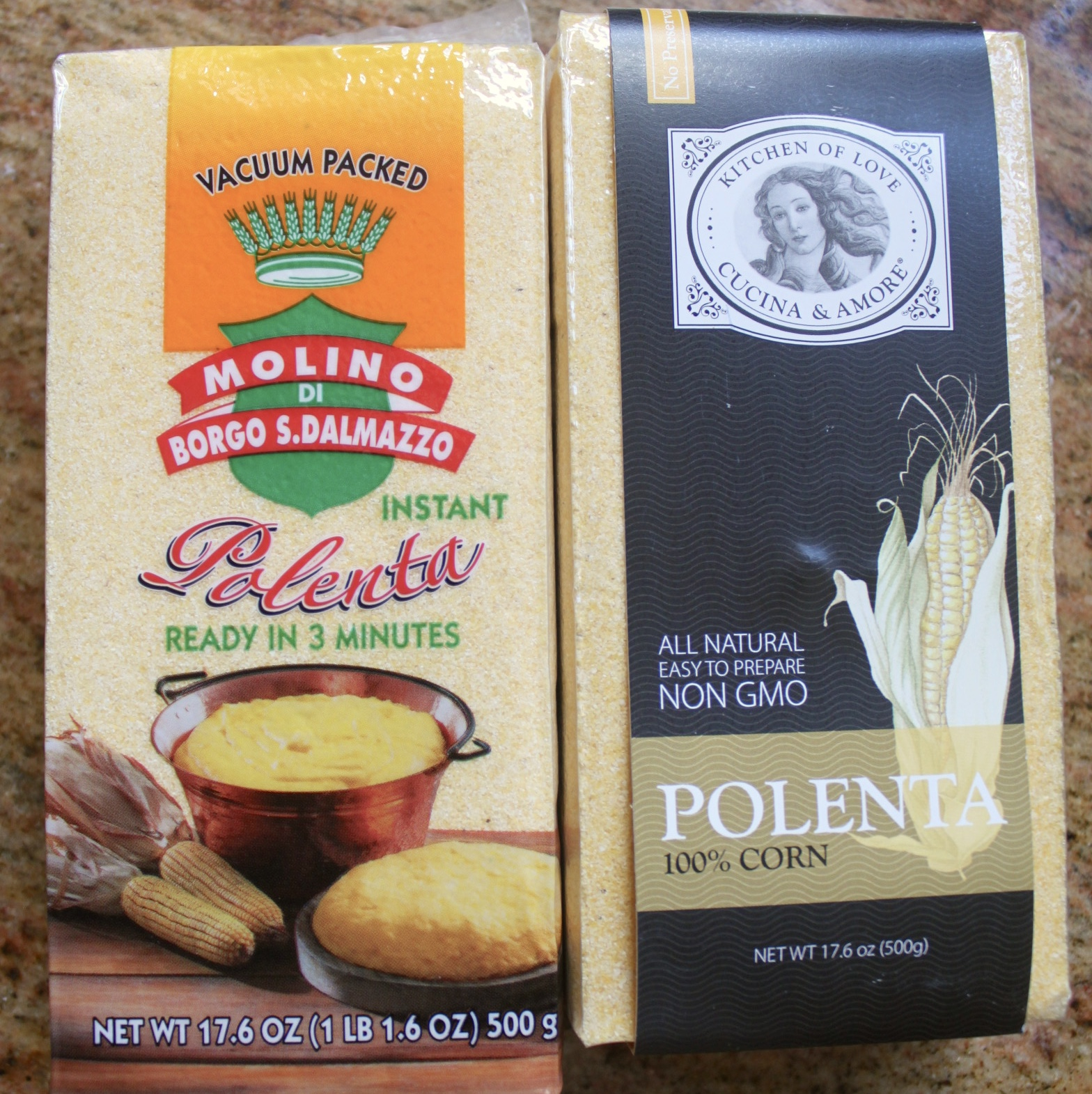 packages of polenta