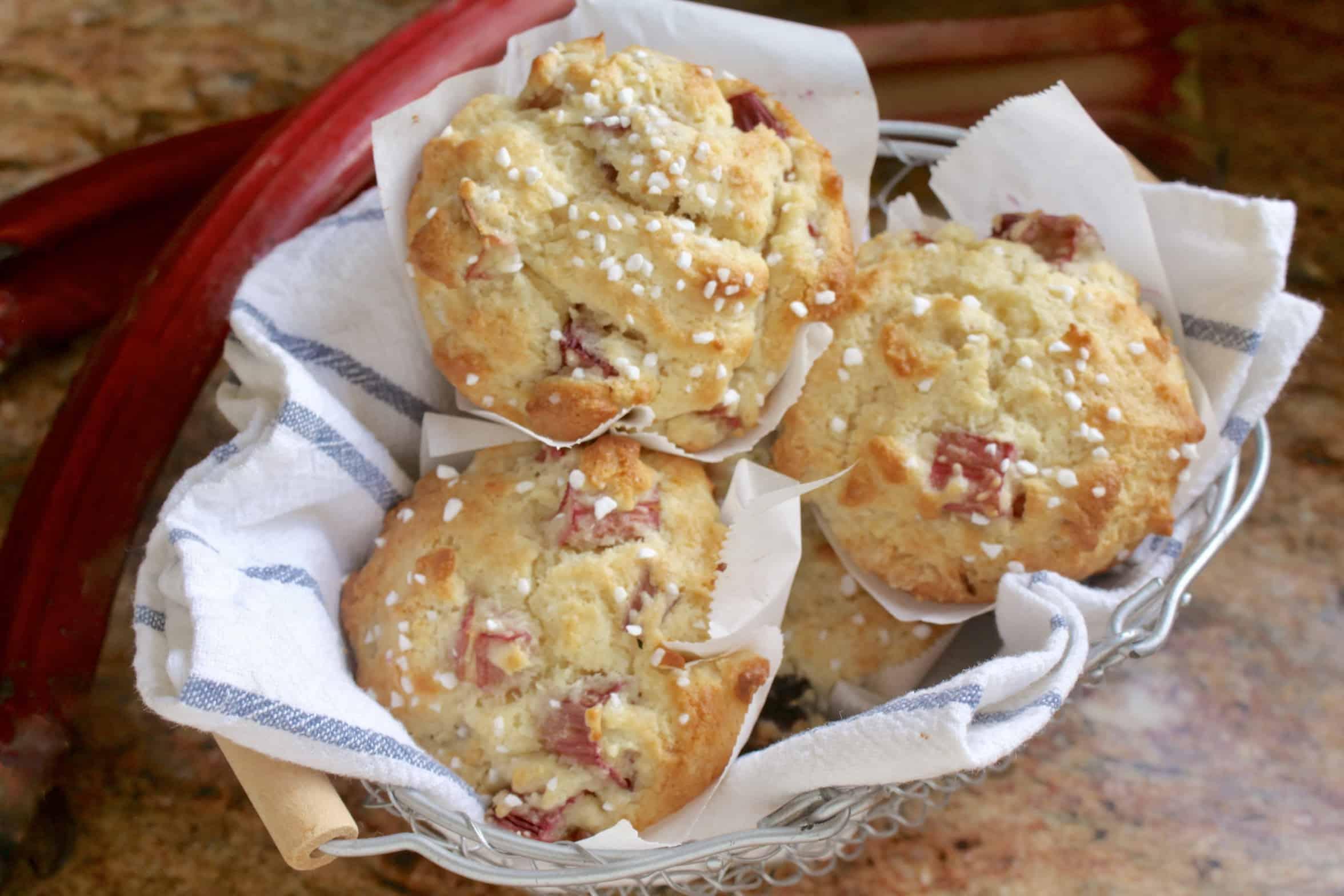 rhubarb muffins in a basket