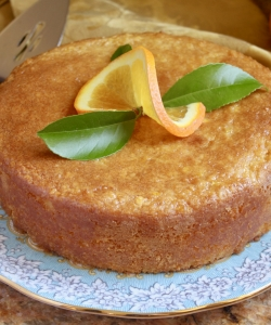 Pretty gluten free orange cake on a plate