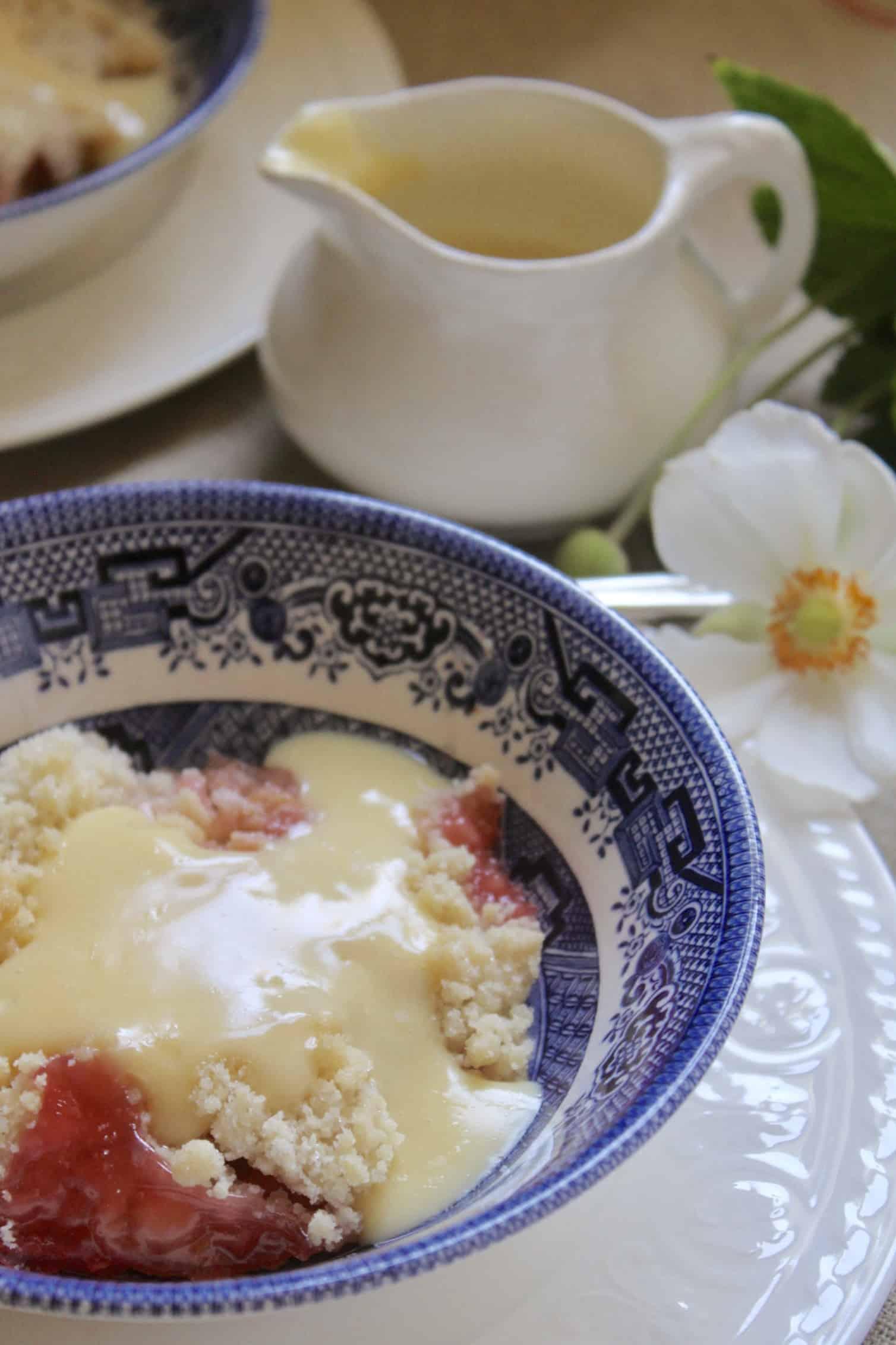 rhubarb crumble with custard and a wee jug