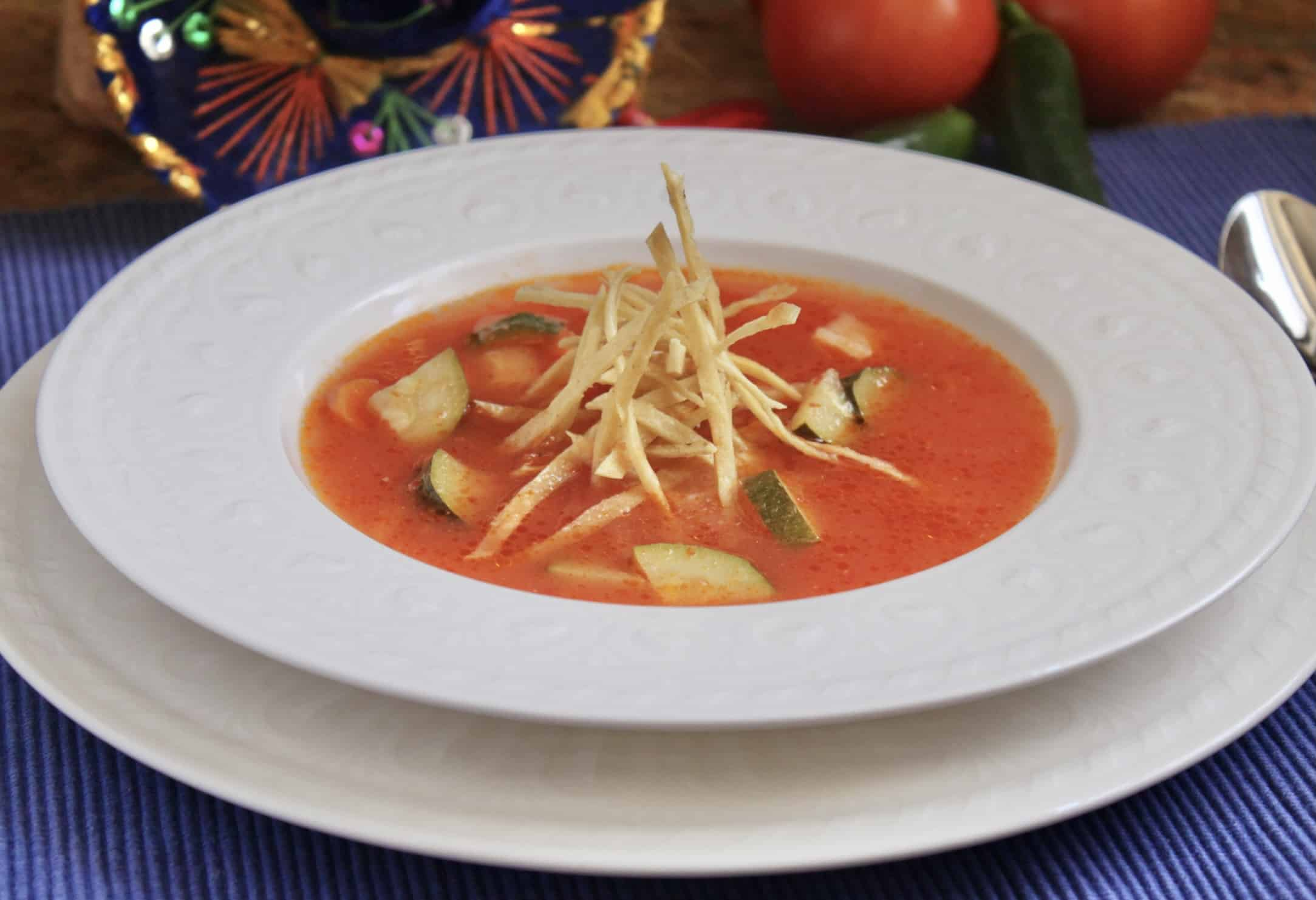 easy tortilla soup in a bowl