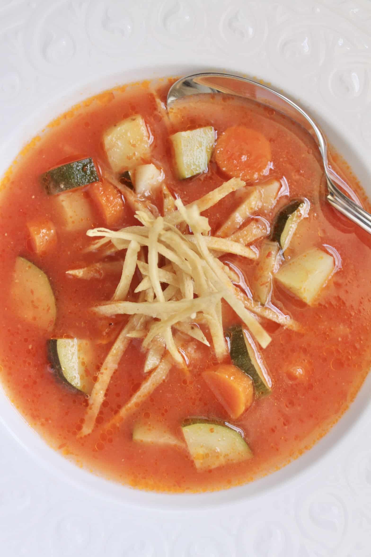 overhead easy tortilla soup in a bowl