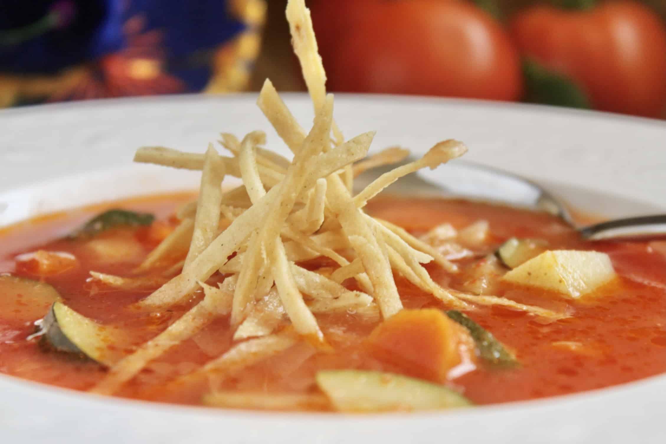 closeup easy tortilla soup in a bowl