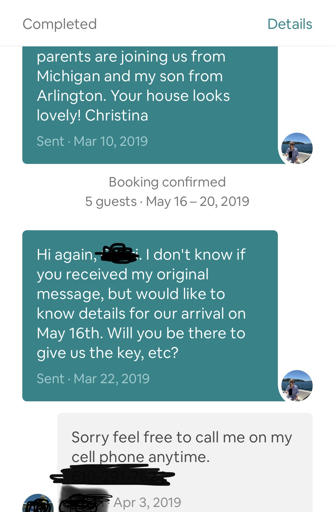 Message with Airbnb host using Airbnb