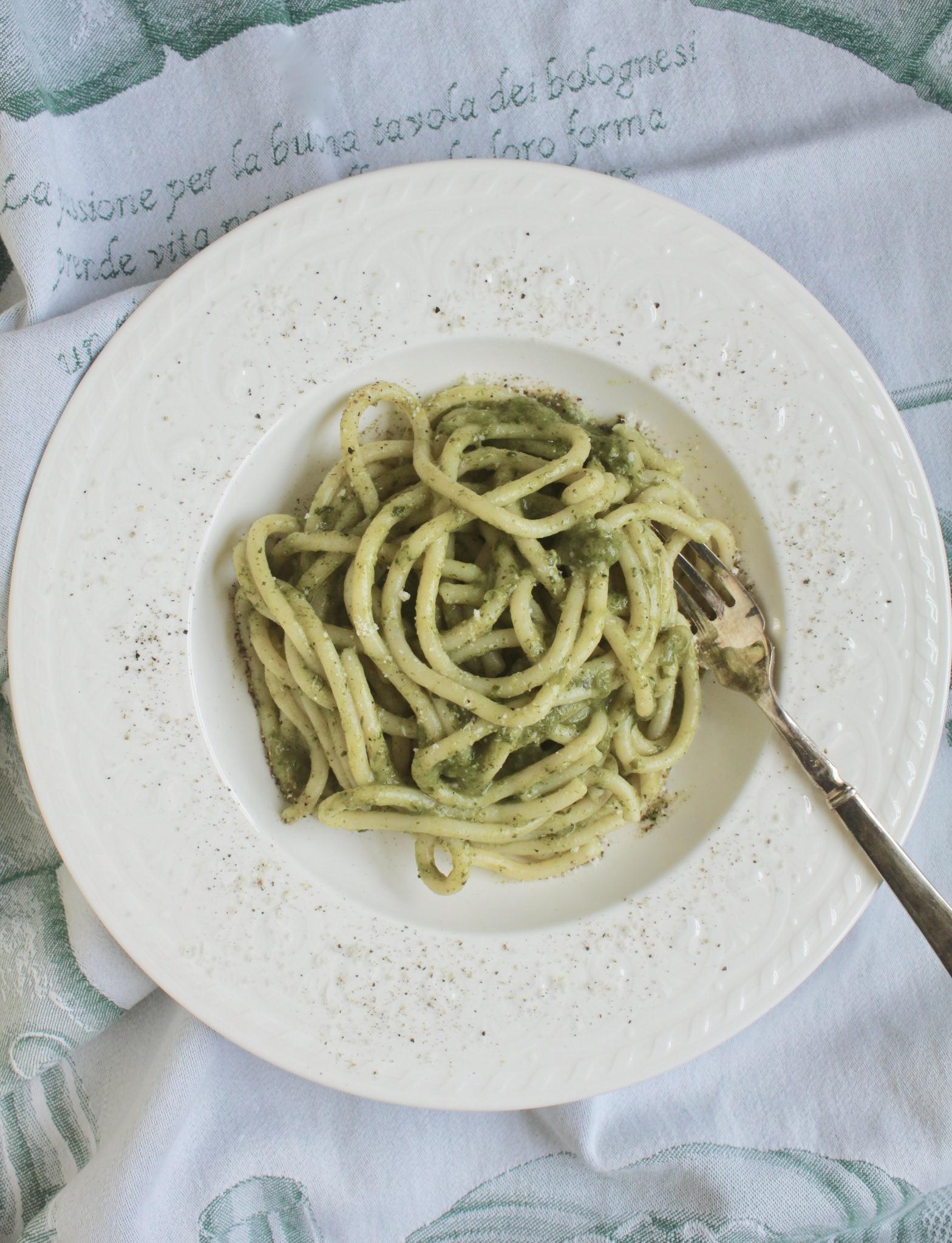 pasta cacio e pepe with dandelion
