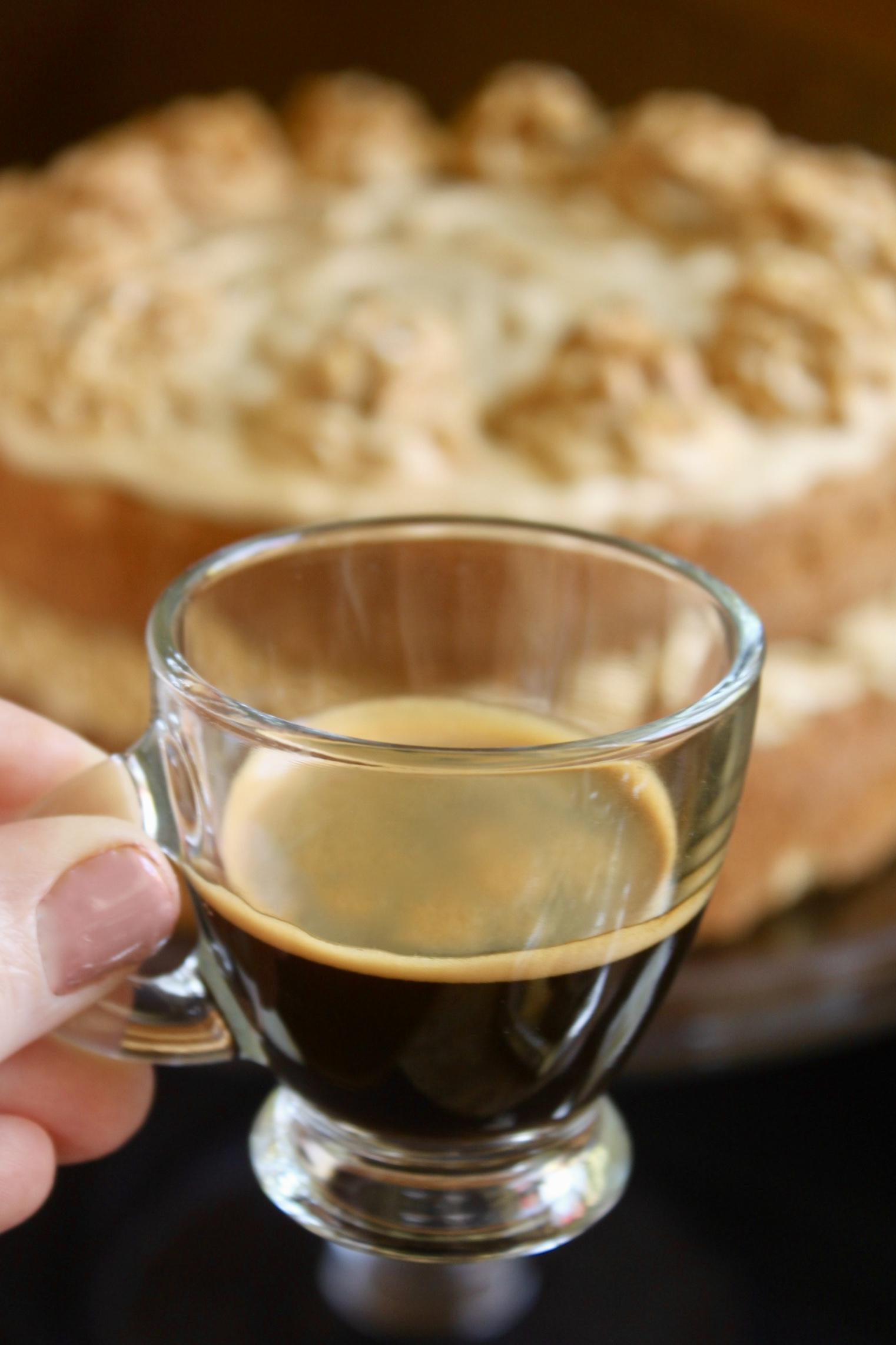 espresso with a coffee and Walnut Cake