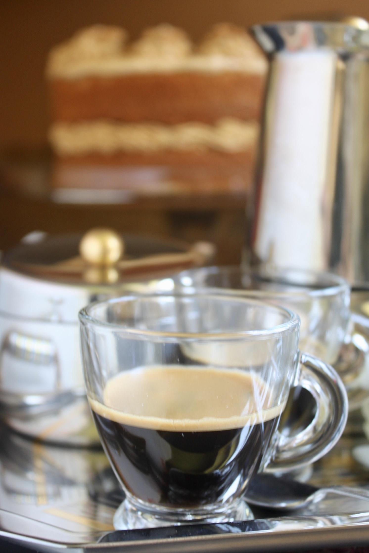espresso with coffee and walnut cake